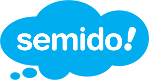 Blaues Semido-Logo in Wolkenform, genauer gesagt eine blaue Denkblase.